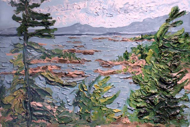 A reproduction of the painting Georgian Bay (by Pierre AJ Sabourin).