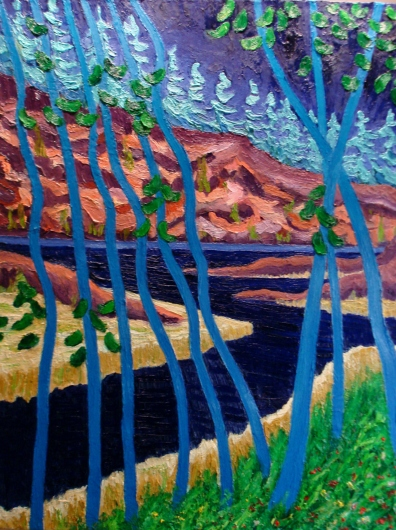 Maskinoge Provincial Park, West Arm of Lake NIppissing oil on canvas 30 x 38 en plein air August 2012