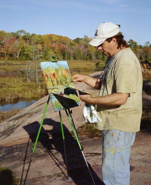 Pierre AJ Sabourin painting en plein air