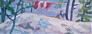 Paul Schleusner on Sunset Rock oil on board 10 x 26
