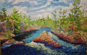 Land of the Voyageur oil on Canvas 48 x 72 en plein air French River Delta