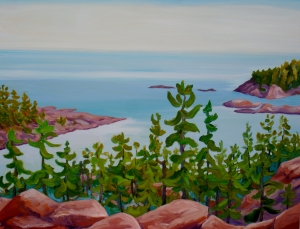 Georgian Bay Spring 48 x 60 oil on canvas en plein air April 2011 painted from the mouth of the Killarney Channel