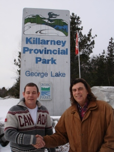 Jeremy Pahson Superintendant Killarney Provincial Park  and Pierre AJ Sabourin