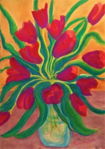 Tulips soft pastel on arches 24 x 30