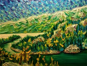 Frazer Bay from Covered Portage oil on canvas 28x 30